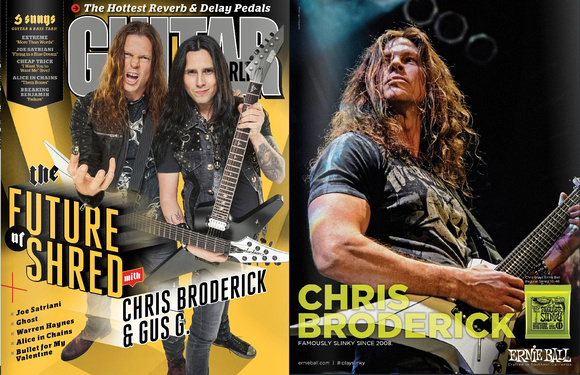 Chris Broderick Ernie Ball ad in Guitar World September 2015 issue.