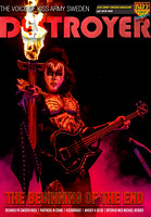 Gene Simmons photo on the cover of Sweden KISS Army DESTROYER Magazine